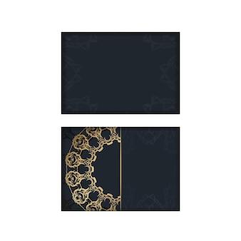 Modèle de brochure de couleur noire avec motif or abstrait préparé pour la typographie.
