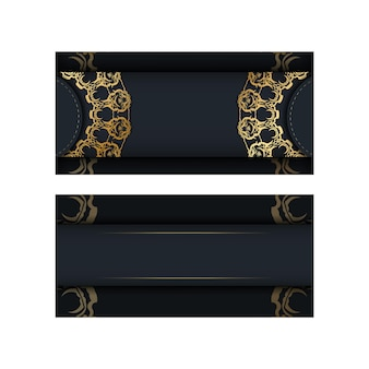 Modèle de brochure de couleur noire avec motif en or indien pour votre conception.