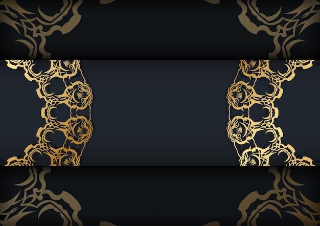 Modèle de brochure de couleur noire avec motif en or indien pour votre marque.