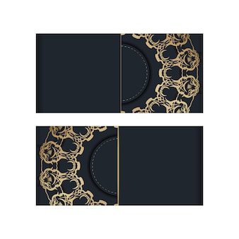 Modèle de brochure de couleur noire avec ornement abstrait en or pour votre marque.