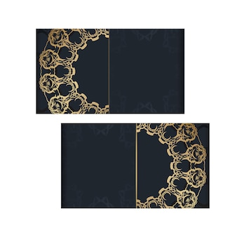Modèle de brochure de couleur noire avec ornement abstrait en or préparé pour la typographie.