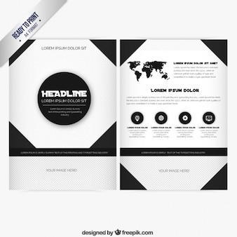 Modèle de brochure en couleurs noir et blanc