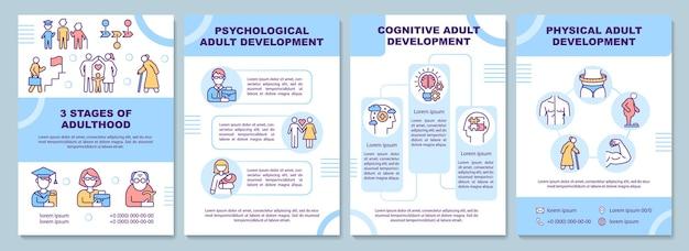 Modèle de brochure sur le développement à l'âge adulte. étapes de maturité. flyer, brochure, dépliant imprimé, conception de la couverture avec des icônes linéaires. dispositions vectorielles pour la présentation, les rapports annuels, les pages de publicité