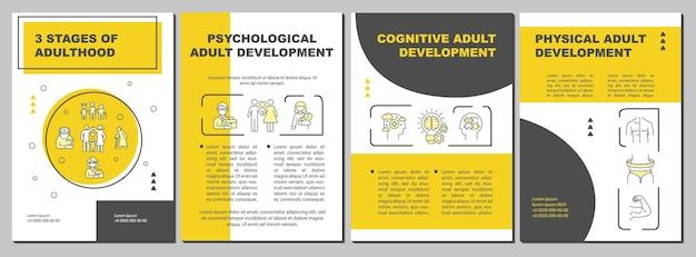 Modèle de brochure sur le développement psychologique des adultes. flyer, brochure, dépliant imprimé, conception de la couverture avec des icônes linéaires. dispositions vectorielles pour la présentation, les rapports annuels, les pages de publicité