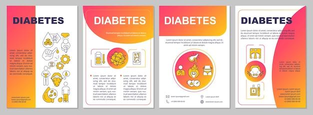 Modèle de brochure sur le diabète. prise en charge médicale des personnes malades. flyer, brochure, dépliant imprimé, conception de la couverture avec des icônes linéaires. dispositions vectorielles pour la présentation, les rapports annuels, les pages de publicité