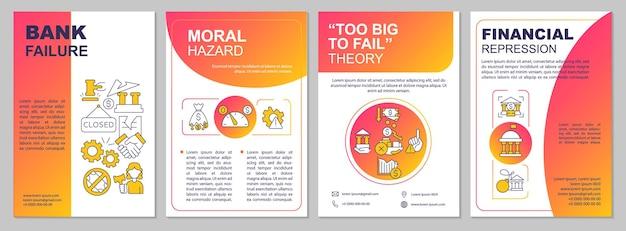 Modèle de brochure sur l'effondrement de la banque. risque financier. flyer, brochure, dépliant imprimé, conception de la couverture avec des icônes linéaires. dispositions vectorielles pour la présentation, les rapports annuels, les pages de publicité