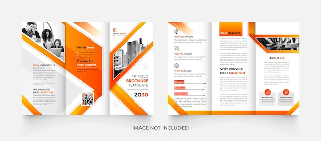 Modèle de brochure d'entreprise créative à trois volets orange et noir