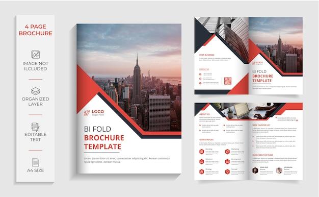 Modèle de brochure d'entreprise à deux volets rouge et noir