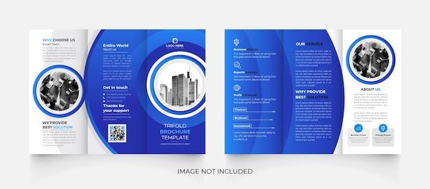 Modèle de brochure d'entreprise à trois volets bleu moderne