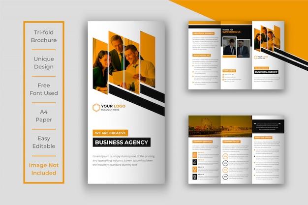 Modèle de brochure d'entreprise à trois volets jaune