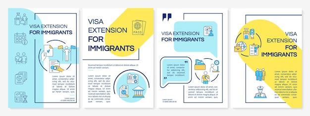 Modèle de brochure d'extension de visa. autorisation d'entrée à la frontière. flyer, brochure, dépliant imprimé, conception de la couverture avec des icônes linéaires. dispositions vectorielles pour la présentation, les rapports annuels, les pages de publicité