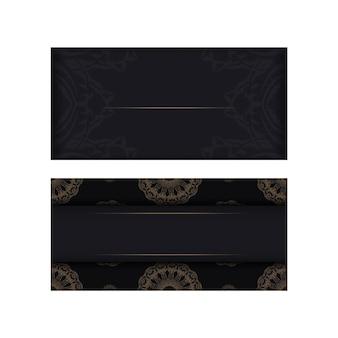 Modèle brochure de félicitations couleur noire avec ornement de mandala marron