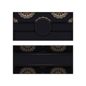 Modèle brochure de félicitations en noir avec motif vintage marron