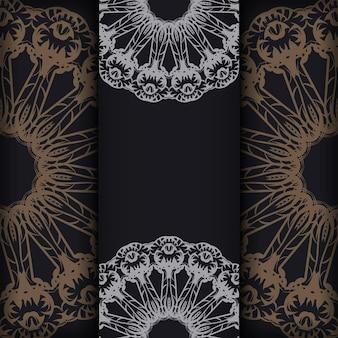 Modèle brochure de félicitations en noir avec ornement indien marron