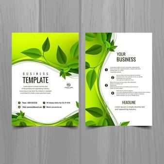Modèle de brochure avec des feuilles
