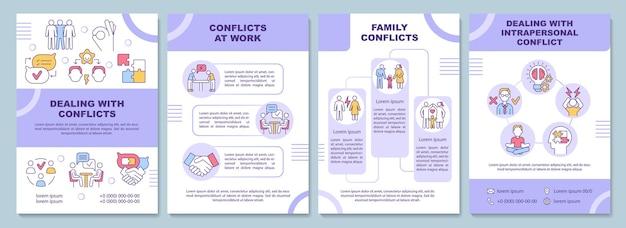 Modèle de brochure sur la gestion des conflits. problèmes relationnels. flyer, brochure, dépliant imprimé, conception de la couverture avec des icônes linéaires. dispositions vectorielles pour la présentation, les rapports annuels, les pages de publicité