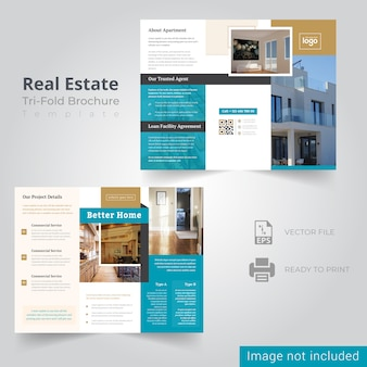 Modèle de brochure de immobilier à trois volets