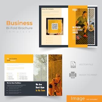 Modèle de brochure de jaune bifold