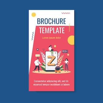 Modèle de brochure en ligne de messagerie de personnes minuscules