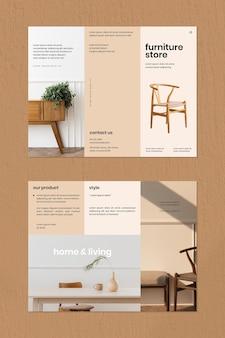 Modèle de brochure de magasin de meubles vintage
