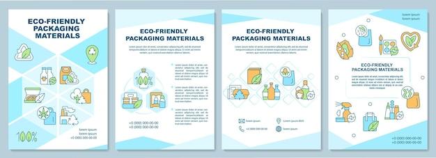Modèle de brochure sur les matériaux d'emballage respectueux de l'environnement. flyer, brochure, dépliant imprimé, conception de la couverture avec des icônes linéaires. dispositions vectorielles pour la présentation, les rapports annuels, les pages de publicité