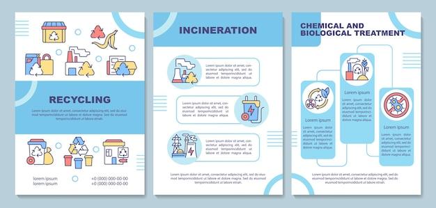 Modèle de brochure sur les méthodes d'élimination des déchets. traitement des ordures. flyer, brochure, dépliant imprimé, conception de la couverture avec des icônes linéaires. dispositions vectorielles pour la présentation, les rapports annuels, les pages de publicité