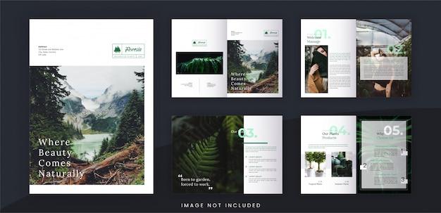 Modèle de brochure minimaliste de magasin botanique et de traitement, texte modifiable