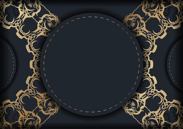 Modèle de brochure en noir avec des ornements en or indien pour vos félicitations.