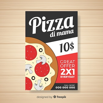 Modèle de brochure de pizza de dessin animé