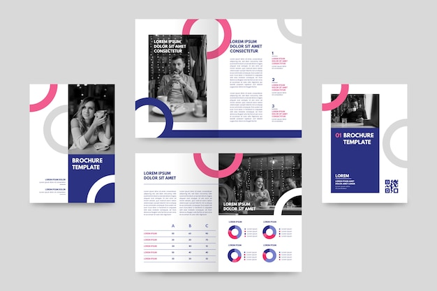 Modèle de brochure pliante créative avec photos