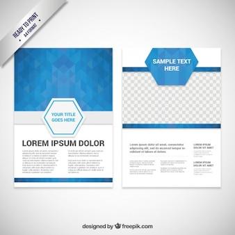 Modèle de brochure avec des polygones bleus