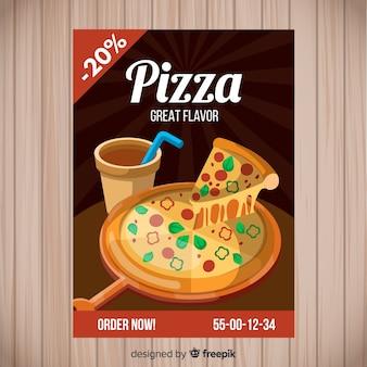 Modèle de brochure pour le pizza dessiné à la main