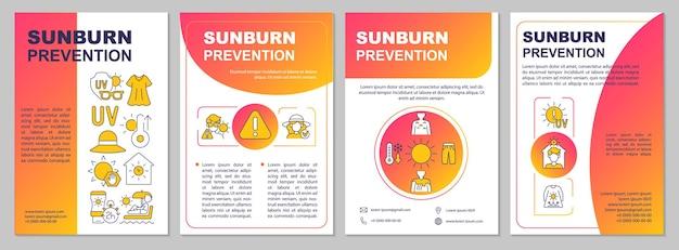 Modèle de brochure sur la prévention des coups de soleil. vêtements de protection solaire. flyer, brochure, dépliant imprimé, conception de la couverture avec des icônes linéaires. dispositions vectorielles pour la présentation, les rapports annuels, les pages de publicité