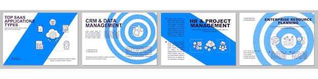 Modèle de brochure sur les principaux types d'applications saas. gestion de projet.