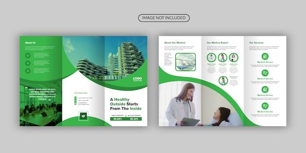 Modèle de brochure professionnelle multifonctionnelle verte moderne à trois volets
