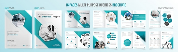 Modèle de brochure professionnelle polyvalente de 16 pages avec des formes géométriques bleu ciel