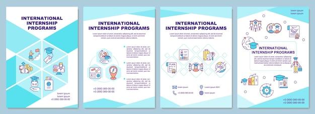 Modèle de brochure sur les programmes de stages internationaux. stagiaire à l'étranger. flyer, brochure, dépliant imprimé, conception de la couverture avec des icônes linéaires. dispositions vectorielles pour la présentation, les rapports annuels, les pages de publicité
