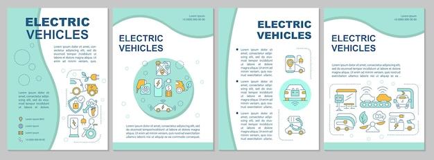 Modèle de brochure de propositions de base ev. flyer, brochure, dépliant imprimé, conception de la couverture avec des icônes linéaires. style écologique. dispositions vectorielles pour la présentation, les rapports annuels, les pages de publicité