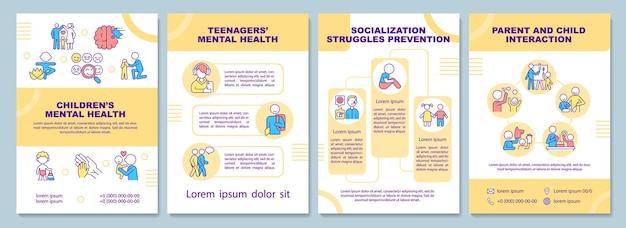Modèle de brochure sur la santé mentale des enfants. socialisation de l'enfant. flyer, brochure, dépliant imprimé, conception de la couverture avec des icônes linéaires. dispositions vectorielles pour la présentation, les rapports annuels, les pages de publicité