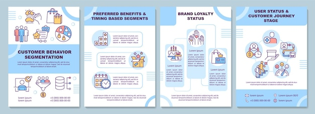 Modèle de brochure sur la segmentation du comportement des clients. avantage préféré