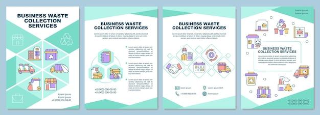 Modèle de brochure sur les services de collecte des déchets commerciaux. flyer, brochure, dépliant imprimé, conception de la couverture avec des icônes linéaires. dispositions vectorielles pour la présentation, les rapports annuels, les pages de publicité