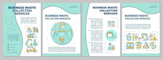 Modèle de brochure sur les services de collecte des déchets d'entreprise. flyer, brochure, dépliant imprimé, conception de la couverture avec des icônes linéaires. dispositions vectorielles pour la présentation, les rapports annuels, les pages de publicité
