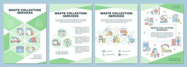 Modèle de brochure sur les services de collecte des déchets. gestion des ordures ménagères. flyer, brochure, dépliant imprimé, conception de la couverture avec des icônes linéaires. dispositions vectorielles pour la présentation, les rapports annuels, les pages de publicité