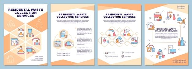Modèle de brochure sur les services de collecte des déchets résidentiels. flyer, brochure, dépliant imprimé, conception de la couverture avec des icônes linéaires. dispositions vectorielles pour la présentation, les rapports annuels, les pages de publicité