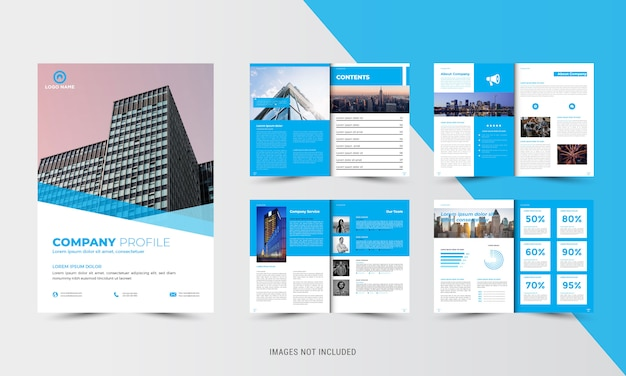 Modèle de brochure de société bleue d'entreprise