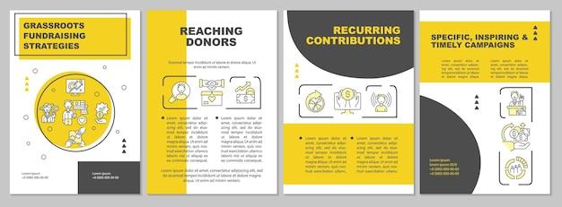 Modèle de brochure sur les stratégies de collecte de fonds à la base. augmentation du fonds. flyer, brochure, dépliant imprimé, conception de la couverture avec des icônes linéaires. dispositions vectorielles pour la présentation, les rapports annuels, les pages de publicité