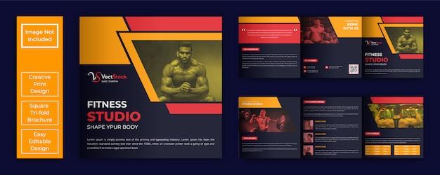 Modèle de brochure de studio de fitness carré à trois volets
