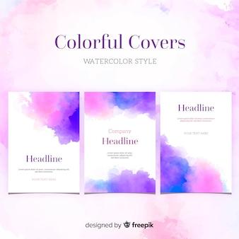 Modèle de brochure de taches d'aquarelle