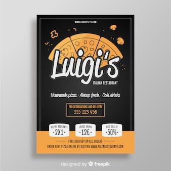 Modèle de brochure tranches de pizza dessinés à la main