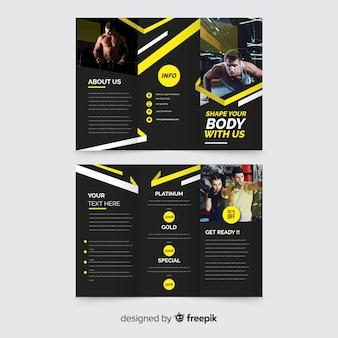 Modèle de brochure trifold de gym